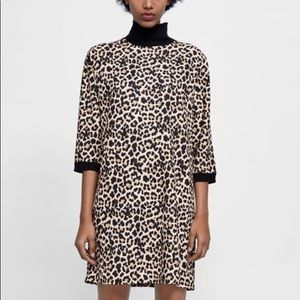 Zara Leopard Mock Neck Shift Mini Dress - Small